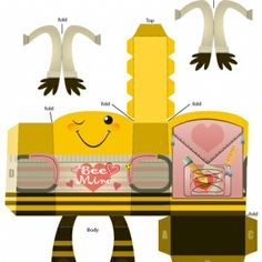 Valentine's Day Paper Craft: FREE printable 'Bee Mine' Character