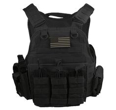 """Rothco Tactical Black Operator Plate Carrier With Molle and (2) 10 x 12"""" Certified AR500 NIJ Compliant Plates"""