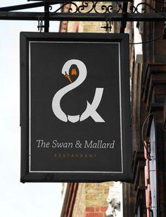 swan and mallard restaurant logo 2 15 Logos That Found a Creative Use for Negative Space Logo Restaurant, Layout Design, Graphisches Design, Creative Design, Logo Inspiration, Creative Inspiration, Logo Branding, 3d Logo, Graphic Design Trends