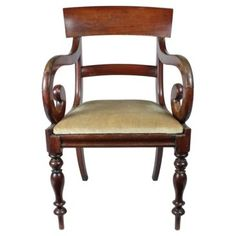Check out this item at One Kings Lane! French Mahogany Scrolled Armchair