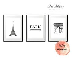 ART PRINT   City Collection   Art Print Sets   Digital Download or Physical Print   B&W, Paris   Wall Art   Home Décor White Art, Black And White, Group Art, Paris City, Decoration, Digital Art, Collections, Art Prints, Unique Jewelry