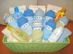 Baby shower Diaper creation centrepiece Babies in a basket - small
