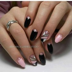 Black and pink nail polish design ideas ❤🏆❤ Burgundy Acrylic Nails, Plum Nails, Lace Nails, Cute Acrylic Nails, Gel Nails, Pink Nail, Nail Polish, Elegant Touch Nails, Classy Nails