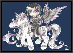 Gothic Angel and Pony cross stitch pattern - xstitch chart - Licensed Magdalena Orlowska by UnconventionalX on Etsy