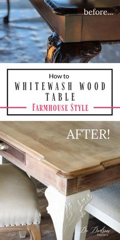 WOWZER! Look at the farmhouse beauty I discovered underneath. I never dreamed that my family heirloom wood table would look like this! It was dark and dreary but I couldn't get rid of it. So, I used a whitewash technique after stripping it down.   #dododsondesigns #whitewashtable #whitewash #tablemakeover White Washed Furniture, Dark Wood Furniture, Diy Furniture Redo, Refurbished Furniture, Repurposed Furniture, Furniture Repair, Furniture Projects, Refinished Table, Refinish Table Top
