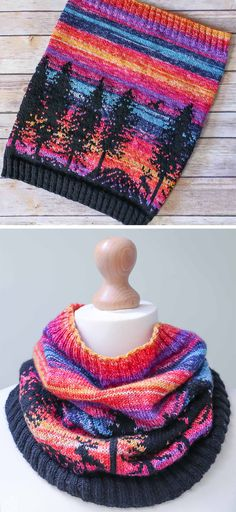 Free Knitting Pattern for Hiking Reindeer Cowl - This colorful cowl depicts a landscape of conifers silhouetted against a fiery sunset inspired by designer's view on the way home in the Oxfordshire countryside. Fingering yarn. Designed by TheTwistedYarn