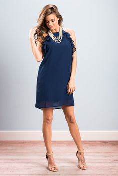 """""""Fun To Flutter Dress, Navy""""This fluttering beauty is just so fun and fancy! We are all about that ruffled detailing! And that color! #newarrivals #shopthemint"""