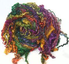 Art Yarn handspun handdyed BFL wool silk & van FeltStudioUK op Etsy