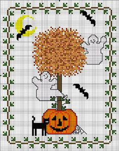 Freebie: Halloween Topiary from Cross-Stitch blog and DMC