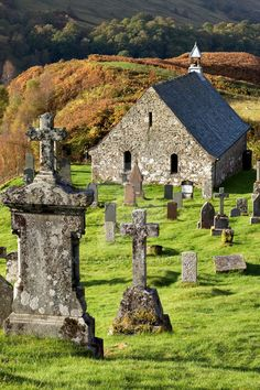 An ancient church and graveyard in the Scottish Highlands. Cille Choirill Vertical View by XY75MQ