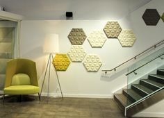 Our BuzziSpace BuzziTile 3D Hexagons add visual interest to our walls!