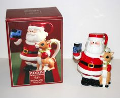 """2002 Lenox Rudolph The Red Nosed Reindeer 8"""" Tall Pitcher w Mug Lid and Box 