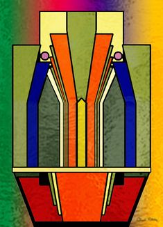 Deco Design 23 - Chuck Staley: An Art Deco design on a stained glass background.