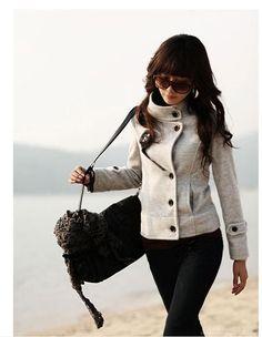Cool Stylish Stand Collar Strap Buckle Tweed Coat by Emmaina Look Fashion, Autumn Fashion, Womens Fashion, Fashion Coat, Cheap Fashion, Fashion Clothes, Fashion Shoes, Girl Fashion, Short Trench Coat