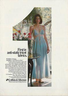 1970s MISS ELAINE Blue NIGHTGOWN photo Womens FASHION LINGERIE Vintage Print Ad