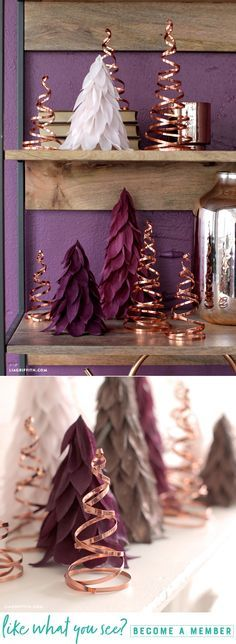 Copper Christmas Trees - Lia Griffith - www.liagriffith.com #diyinspiration #diychristmas #diyholiday #diyholidays #copper #madewithlia