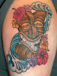 My badass TIKI tattoo done by John Graefe at Hart & Huntington. Worth every minute of the 8 hr session.