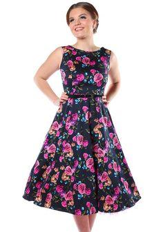 Amethyst Rose Hepburn, circle dress by Lady Vintage  http://www.misswindyshop.com #dress #floral #navy #pink #roses #hepburn #circle #vintage #fifties #petticoat