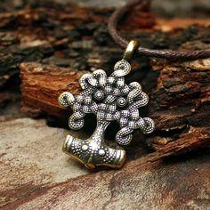 Yggdrasil bronze World Tree Thor Hammer Mjolnir Viking nordique amulette Talisman pendentif