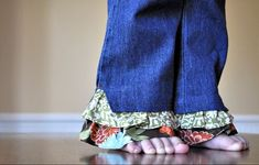 Ruffle Pant Leg Tutorial. Looks great for when the pants are too short, but finally fit her in the waist!