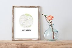 Salt Lake City Map   Modern Travel Print   8.5 x 11   Wall Decor