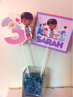 DOC MCSTUFFINS Birthday Party Centerpiece Picks by HappyBubby on Etsy https://www.etsy.com/listing/195231251/doc-mcstuffins-birthday-party
