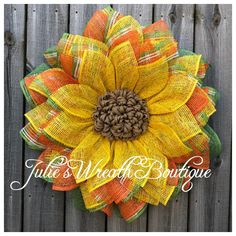 Dollar Tree Frame Sunflower Tutorial - Julie's Wreath Boutique Tutorials - Burlap Easy Burlap Wreath, Sunflower Burlap Wreaths, Burlap Wreath Tutorial, Burlap Flowers, Wreath Crafts, Diy Wreath, Sunflower Tree, Sunflower Crafts, Holiday Burlap Wreath