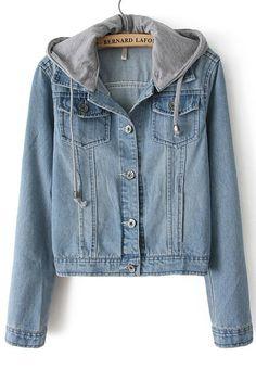 Blouson en jean blanchi avec capuchon -Bleu clair  26.54€