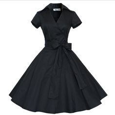 Audrey Hepburn style vintage V-neck belt blow big swing robe dress women casual rockabilly prom 50s dresses female Alternative Measures