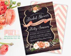 Rustic Bridal Shower Invitation, Barn Wood Style, Gold Glitter Accent, Peach and Cream Peony, Rustic Chalkboard Invite - PRINTABLE DESIGN