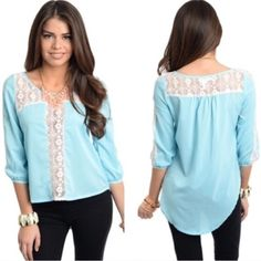HI-LO LIGHT BLUE LACE ACCENT TOP This stylish top features a soft woven material w quarter sleeves. Scoop neck w lace at the collarbone and down the center, as well as across the shoulders on back. Hi-Lo hemline. 60% silk 40% polyester. S measures B18.25 W18.25 LF20.5 LB27. M and L will measure slightly larger.  S (2) PLEASE DO NOT BUY THIS LISTING. Allow me to make your separate listing for you or help you make a bundle ❤️.  NO PAYPAL NO TRADES. Due to Poshmark's commission, price is FIRM…