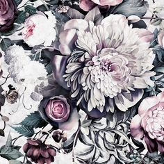 Dark Floral II Sanded Fresco Sample - Floral Wallpaper Samples - by Ellie Cashman Design