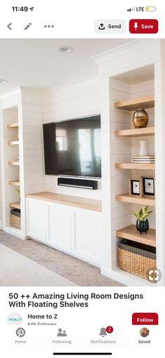 Bookshelf Styling, Bookshelves, Living Room Designs, Living Rooms, Floating Shelves, My House, Beautiful Homes, Family Room, Lounge