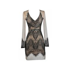 Barely There Lace and Mesh Dress in Black/Beige ($52) ❤ liked on Polyvore featuring dresses, long sleeve v neck dress, sheer lace dress, sexy cocktail dresses, sexy lace dresses and lace overlay cocktail dress