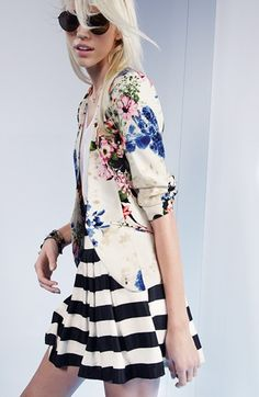 Ro & De Pleated Stripe Skirt (Regular & Petite) | Nordstrom