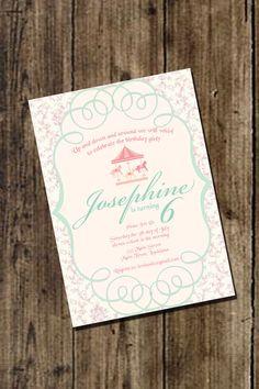 Carousel Birthday Invitation  Girls Carousel by InvitasticInvites, $10.00