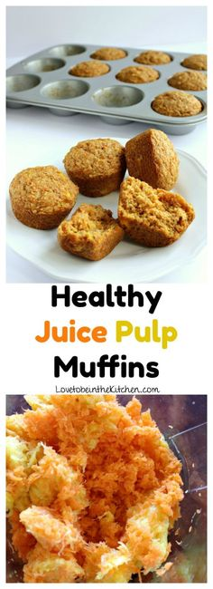These Healthy Juice Pulp Muffins are moist and delicious! Made without sugar and full of nutrition. These muffins are the perfect recipe to make with your leftover juice pulp. They can also be made with shredded carrots if you don't have juice pulp. #healthyjuicepulpmuffins #juicepulprecipes #juicepulp #juicepulpmuffins