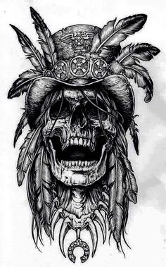 Tattoo Drawings for Men - Ideas and Designs for Guys Tattoos And Body Art tattoo drawings Tatto Skull, Indian Skull Tattoos, Skull Tattoo Design, Tatoo Art, Skull Art, Bird Skull, Indian Tattoo Design, Indian Head Tattoo, Indian Chief Tattoo