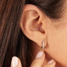 Solid Silver Or Solid Gold, Small Diamond Hoop Earrings