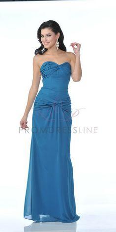 Teal Chiffon Strapless SWeetheart Dropped Waistline Bridesmaid & Prom Dress - S7740