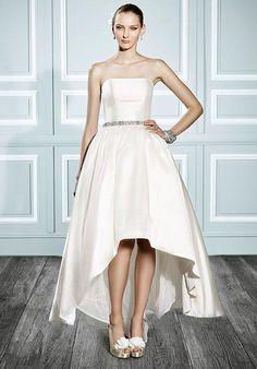 Strapless, taffeta ball gown with a romantic high-low hem   Moonlight Tango   https://www.theknot.com/fashion/t703-moonlight-tango-wedding-dress