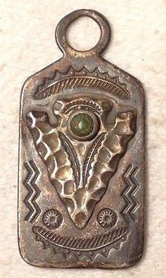 Bell Post Fob Charm Tag Sterling Silver Arrowhead with Turquoise Fred Harvey Era
