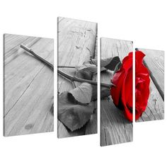 Red Rose Floral Canvas Wall Art Pictures Set 130cm Wide XL Prints 4005