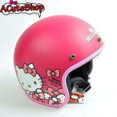 Hello-Kitty-Motorcycle-3-4-Helmet-RETRO-Polka-Dot-Ribbon-Hotpink-Sanrio