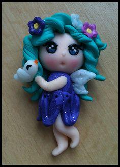 Polymer clay fairy broche