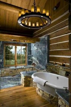 Moder Log Home Bathrooms Design Ideas, Pictures, Remodel, and Decor - page 36 Log Home Bathrooms, Rustic Bathrooms, Dream Bathrooms, Beautiful Bathrooms, Coolest Bathrooms, Open Showers, Log Cabin Homes, Log Cabins, Rustic Cabins