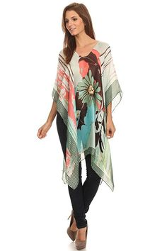 LL- Womens Caftan Poncho Cover Up Scarf Top Light Weight or Suede - Many Styles Floral Chiffon, Chiffon Fabric, Scarf Top, Maternity Swimwear, Summer Tops, Black N Yellow, One Size Fits All, Kimono Top, Cover Up