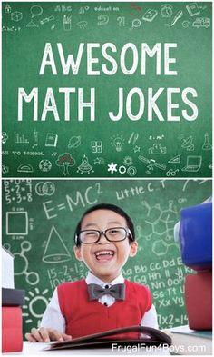The Best Funny Math Jokes for Kids - Frugal Fun For Boys and GirlsAwesome Math Jokes - Algebra jokes, geometry jokes, and just general funny math jokes! All clean and appropriate. Funny Math Jokes, Jokes And Riddles, Funny Jokes For Kids, Math Humor, Silly Jokes, Fun Funny, Funny Girls, Math Puns, Math Teacher
