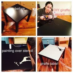 Table; Paint and Homemade Giraffe Stencil