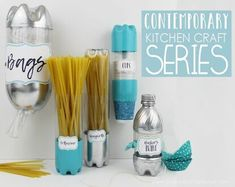 Our contemporary kitchen craft containers and made completely from soda bottles! They're simple, cost only pennies to make and are fun to create! Easy A, Shampoo Bottles, Soda Bottles, Tupperware, Spray Painted Bottles, Paint Bottles, Plastic Bag Dispenser, Diy Drawer Organizer, Organiser